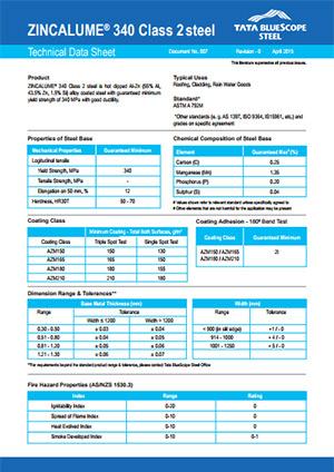 zincalume 340 data sheet