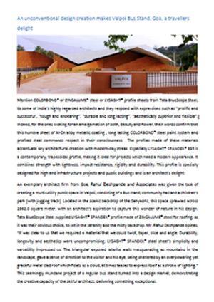 COLORBOND® Case Study Valpoi Bus Stand, Goa