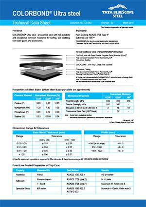 colorbond ultra data sheet