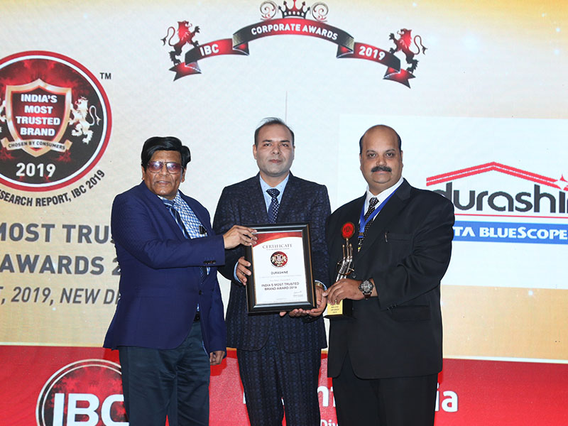 DURASHINE® from Tata BlueScope Steel received award as India's Most Trusted Brand 2019
