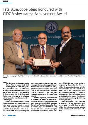 Tata bluescope steel honored