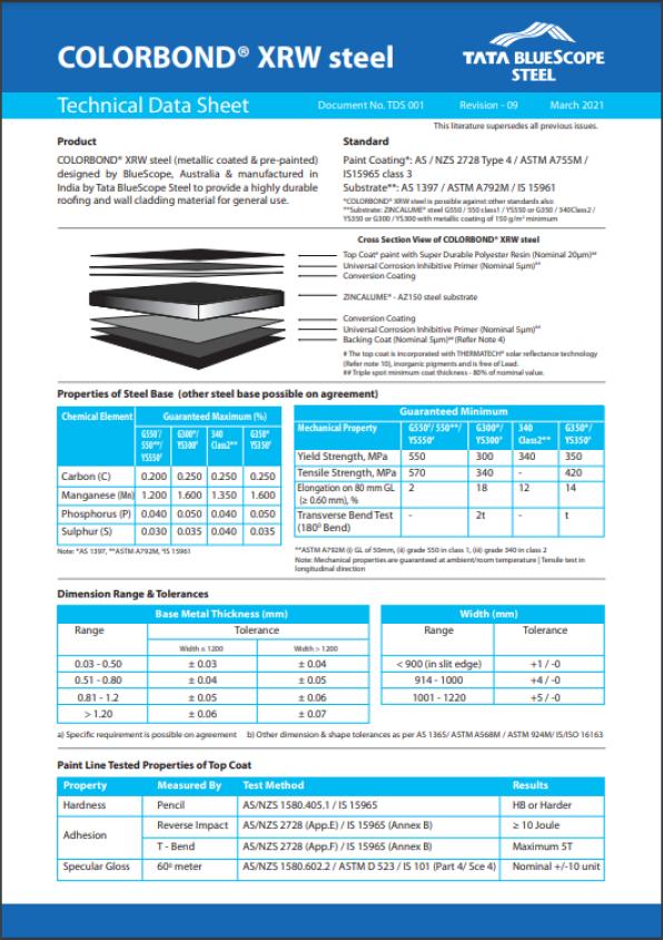 colorbond XRW data sheet